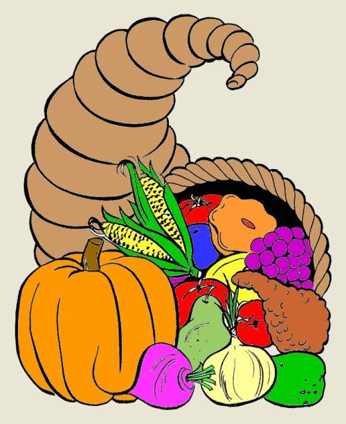 Cornucopia clipart october Printable  coloring Thanksgiving Free