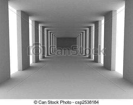 Corridore clipart Corridor grey 3d Illustration simple
