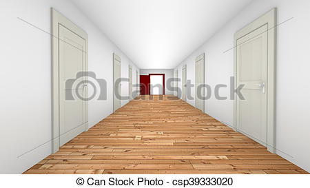Corridor clipart opening door Illustration Clip of of csp39333020