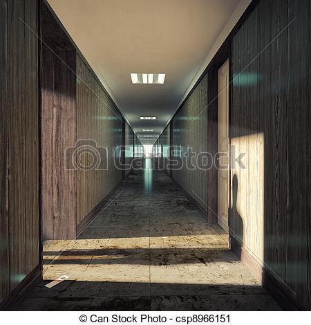 Corridor clipart opening door In Clipart dark a corridor