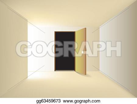 Corridor clipart opening door Illustration corridor left  left
