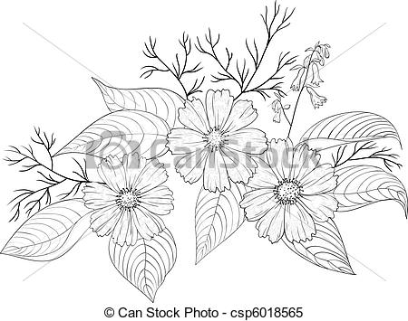 Cosmos clipart black and white Flower of  Clipart Flowers