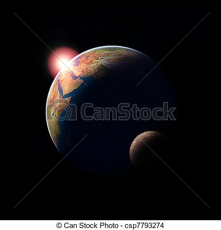 Cosmos clipart earth moon Sciene ilustration Illustration and sun