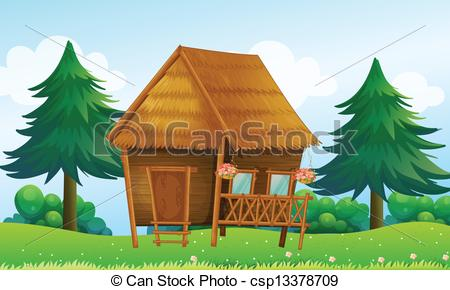 Cottage clipart bamboo house A native  Vector of