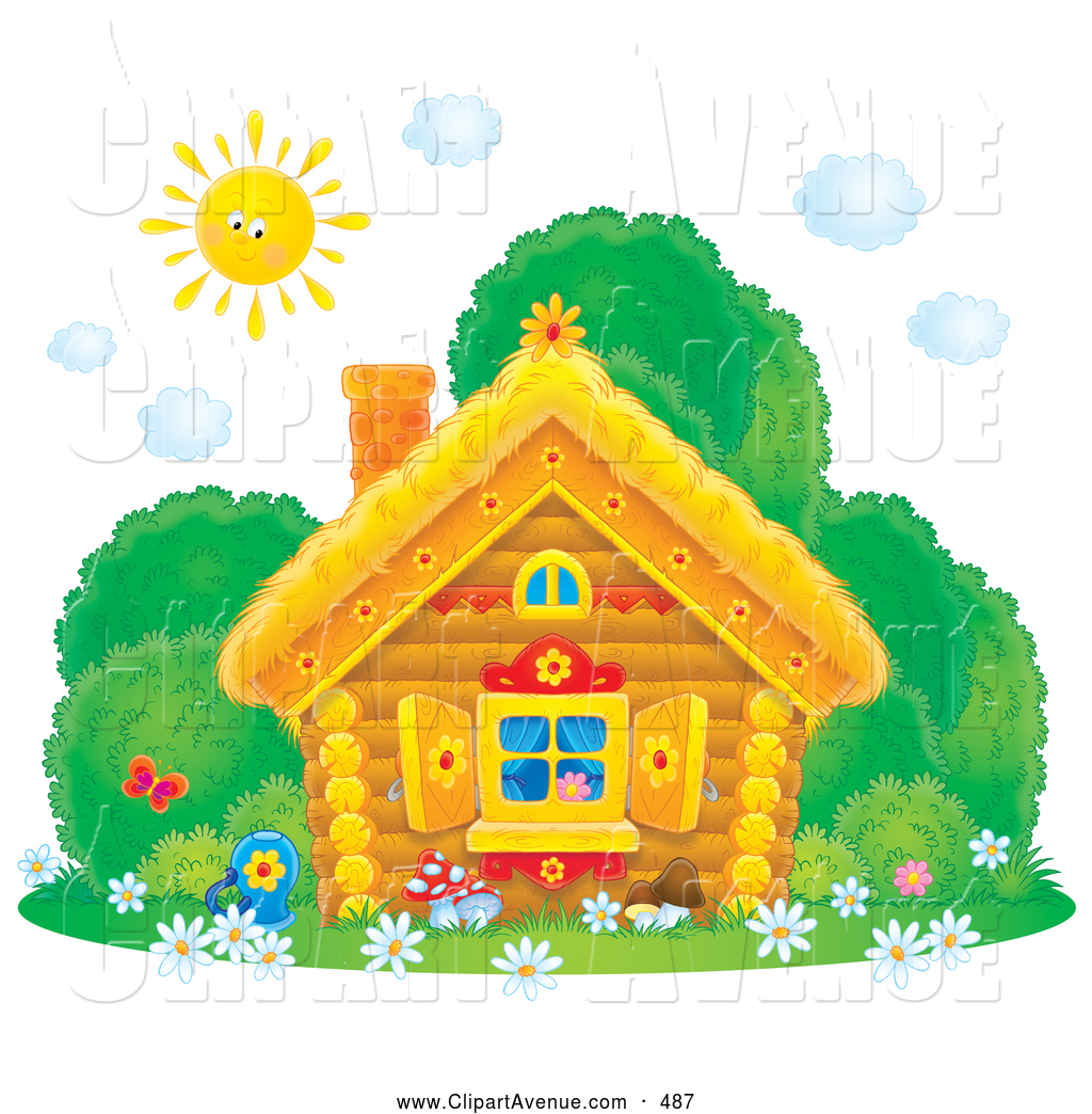 Cottage clipart bright sunny day Avenue Home Bushes Flower down