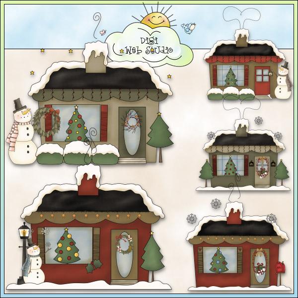 Cottage clipart christmas cottage Crafts Clip Studio : Art