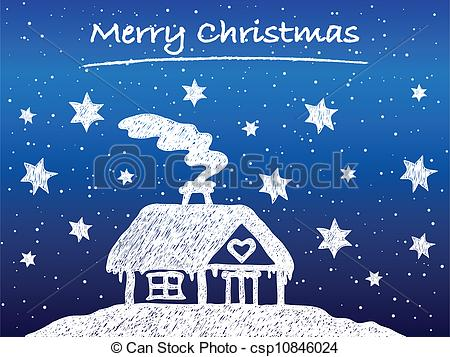 Cottage clipart christmas cottage Hand at snow night at