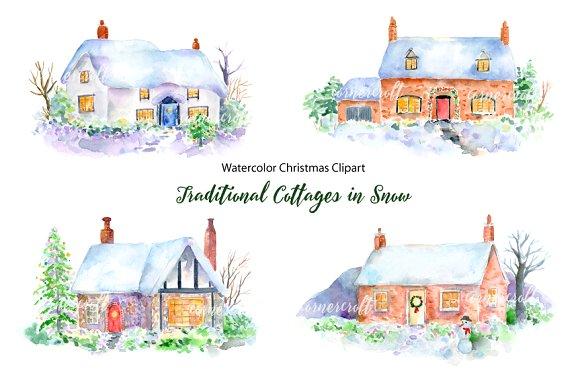 Cottage clipart christmas cottage Creative Snow Market Clipart Clipart