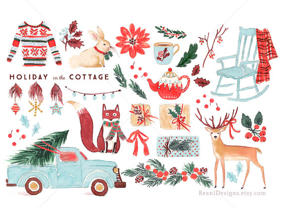 Cottage clipart christmas cottage The Art Holiday Cottage in