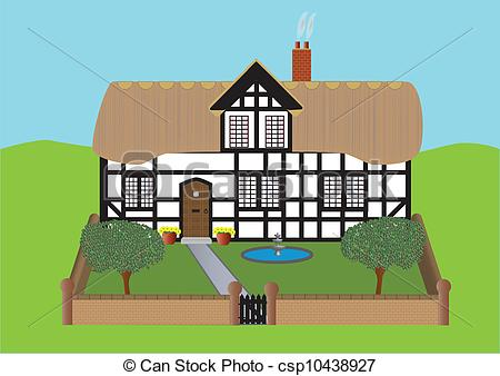 Cottage clipart thatched Art Thatched Timbered Thatched