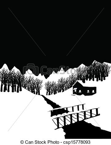 Cottage clipart bamboo hut And landscape Black cottage winter
