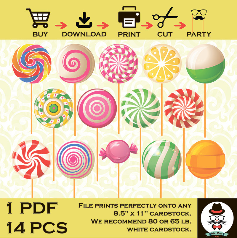 Lollipop clipart boy Birthday Props Printable Etsy Candy