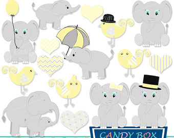 Yellow clipart baby elephant Clip Etsy Elephant Yellow OK