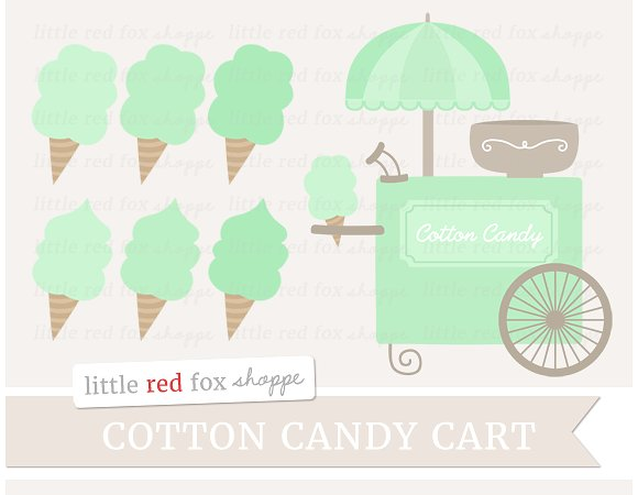 Cotton Candy clipart green ~ Cotton Clipart Cart Illustrations