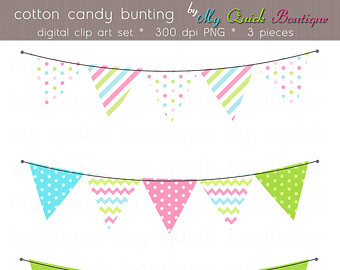 Cotton Candy clipart green Flag Commercial clipart Banner Bunting