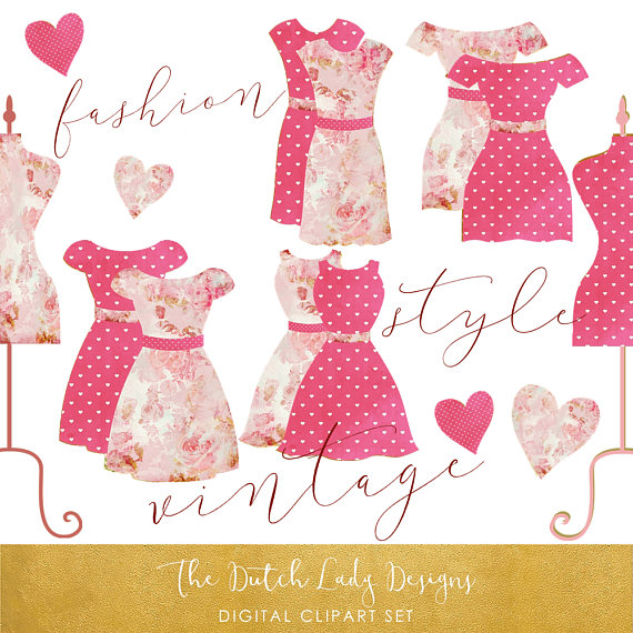 Coture clipart clothes Fuchsia Vintage Clipart Etsy and