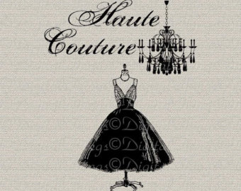 Coture clipart clothes French clipart Digital Couture Transfer