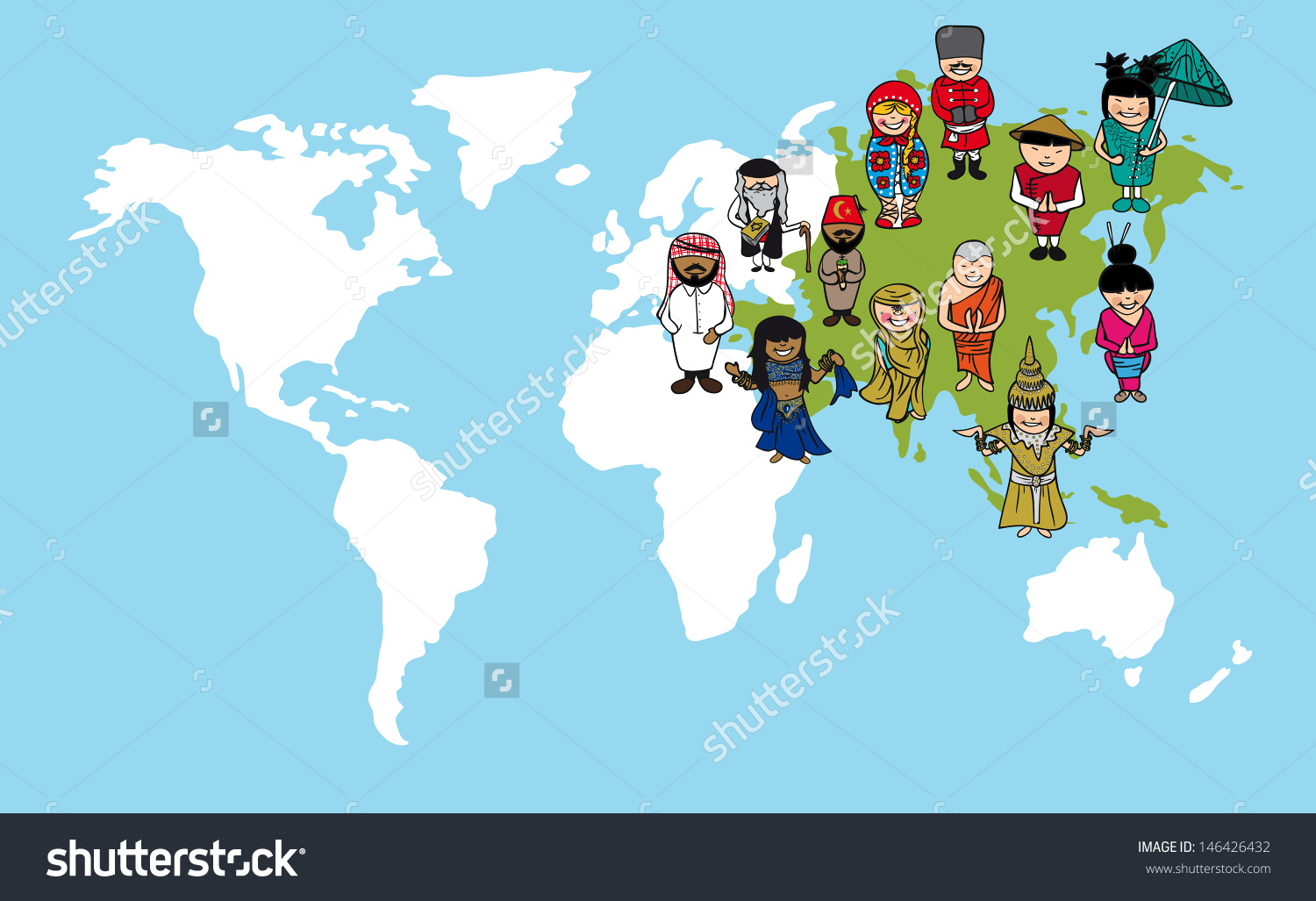 Coture clipart continent People distinctive illustration with Vector
