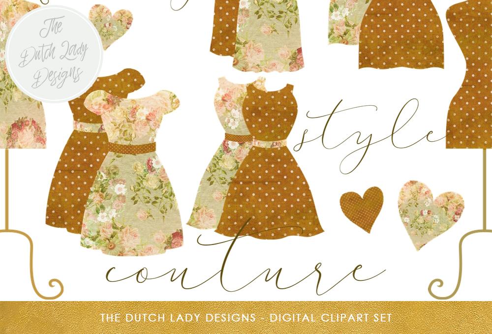 Coture clipart education Vintage Lady Set Clipart Style