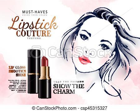 Coture clipart graphic Lipstick lipstick ad Vector ad