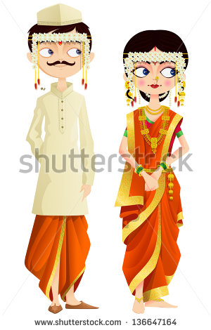 Coture clipart indian couple Illustration couple Maharashtrian to illustration
