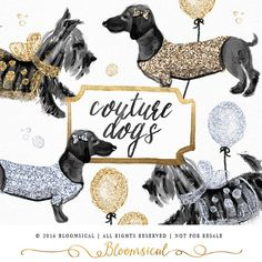 Coture clipart respect Art Drawn Hat Dogs+Clip+Art++Hand+Painted+Couture+Dog+fox Fashion