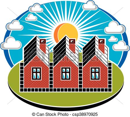 Country clipart beautiful house  vector illustration Vector Illustration