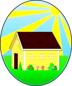 Country clipart beautiful house The home sun Flowers spring