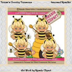Country clipart bee Blonde Treasures girls flowers Bumble