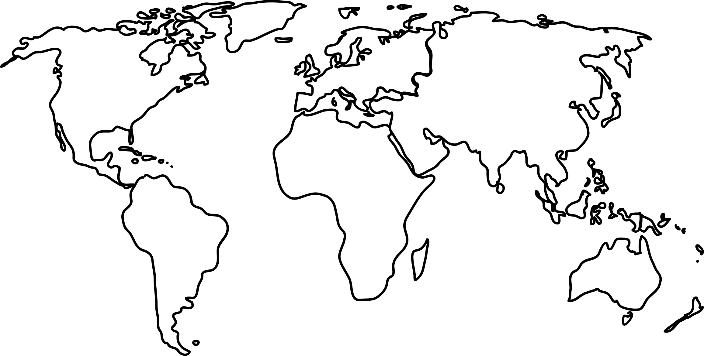 Continent clipart black and white World Collection outlines map Clipart