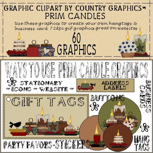 Candle clipart cartoon Country Clipart Prim Candles Country