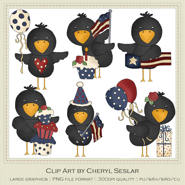 Country clipart crow Designs Seslar Primitive Clip Country