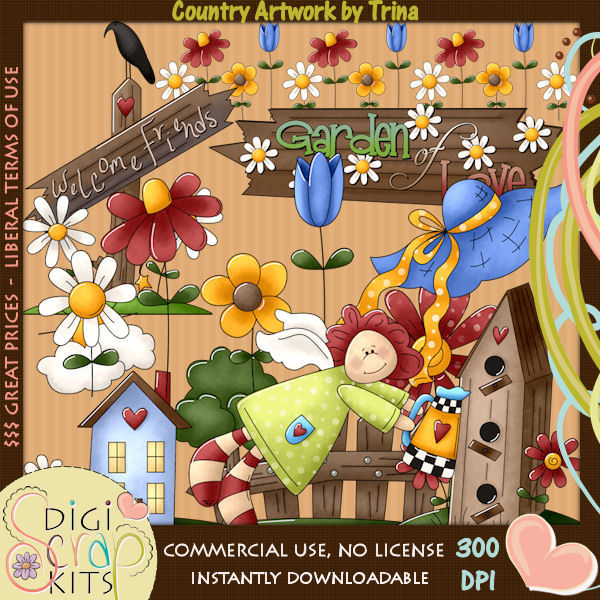 Country clipart garden background Background Digital Country $2 Love