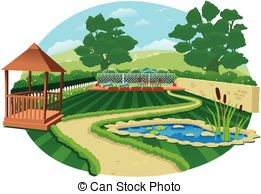 Country clipart garden shed With Shelves; Garden pond Vectors