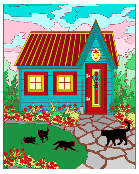 Country clipart garden shed Gifts Country Cat Garden Coloring