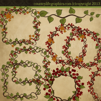 Berry clipart primitive Garland Country Folkart Pip