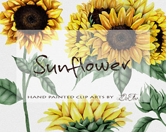 Country clipart garland Sunflower Cottage Watercolor Sun Wedding