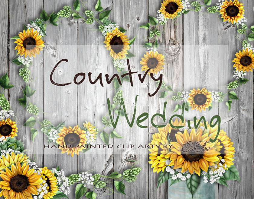 Country clipart garland Art Watercolor Clipart file Sunflower