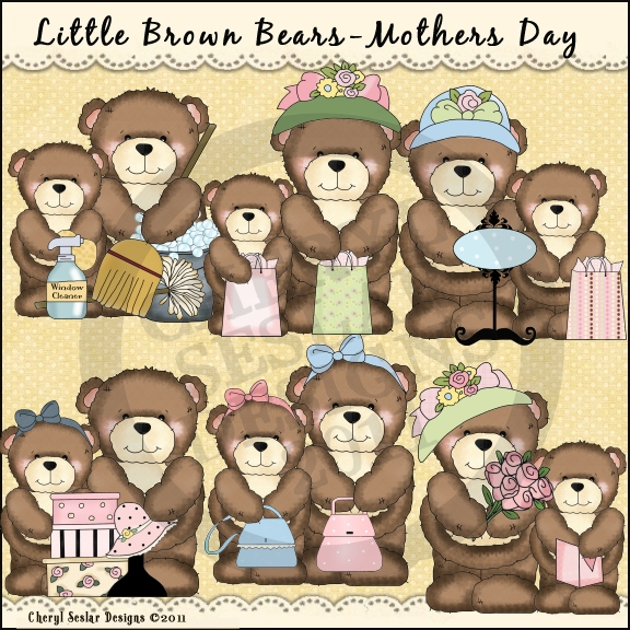 Country clipart mothers day Day Brown clipart Mother's Bears