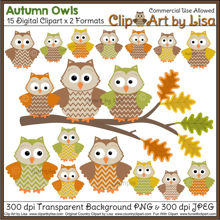 Country clipart owl  Autumn Use 15 for