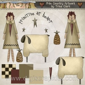 Country clipart primitive Country Sheep Clipart Clip Country
