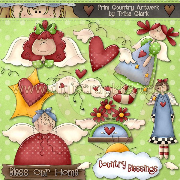 Country clipart primitive Angels Primitive country  Download