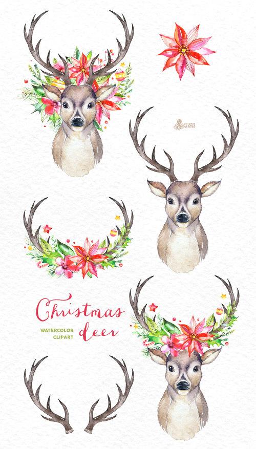 Country clipart reindeer Flowers holiday hand art Deer