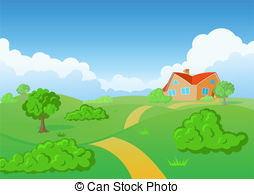 Feilds clipart countryside Countryside meadow royalty House nature