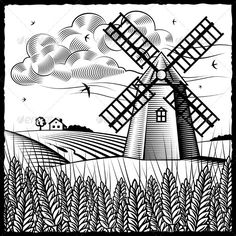 Countyside clipart agriculture farming On woodcut and Landscape GraphicRiver
