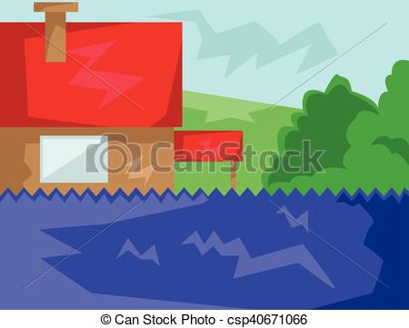 Countyside clipart animated View with  House Clip