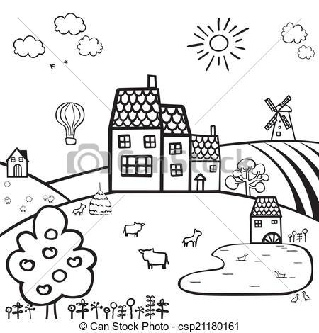 Countyside clipart farm village Black and farm Clip landscape