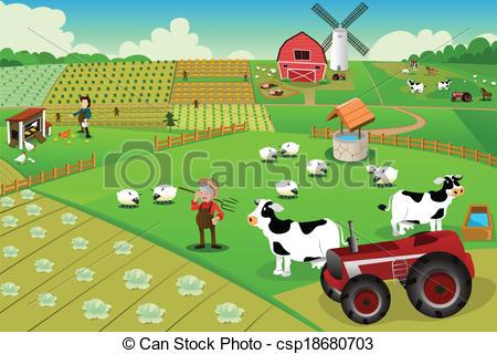 Countyside clipart farm village Csp18680703 Vector illustration Farm