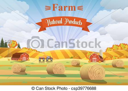 Countyside clipart fields Vector on Rural Countryside of