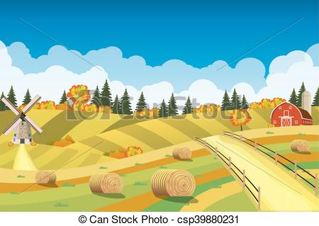 Countyside clipart fields Vectors on Rural Countryside of